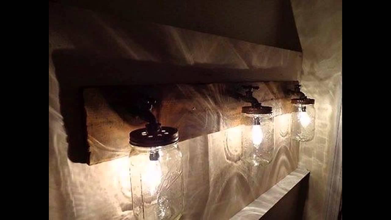 Creative Rustic bathroom lighting - YouTube