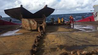 World's largest Anchor Handler in action! Pre-lay Timelapse 16 Anchors. AHTS
