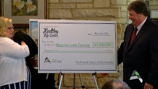 The healthy life center capital campaign announcement of being recipient a $3-million donation from richard and mary fitch...