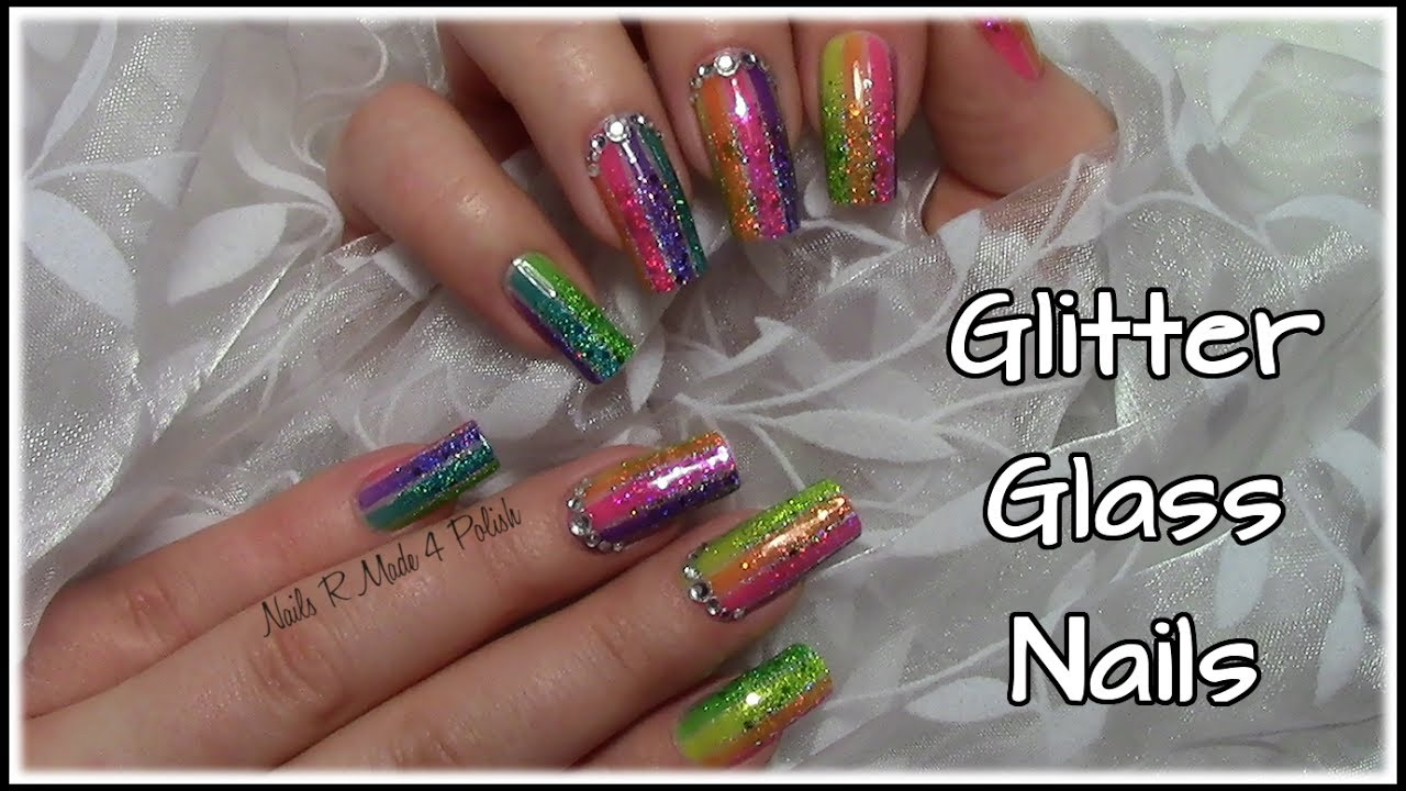 bunt gestreifte glitzer glas n gel colorful striped glass nail art design tutorial youtube. Black Bedroom Furniture Sets. Home Design Ideas