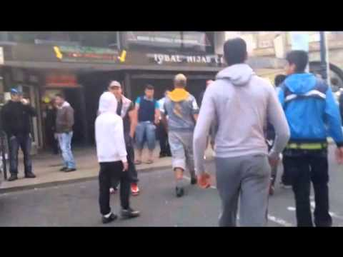 MDL Youths Patrolling The Streets Of Dewsbury From Islamophobic & Racist EDL Scum