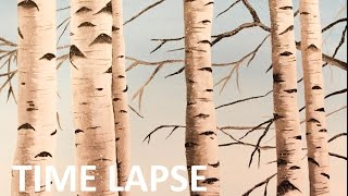 Birch Trees - Acrylic Painting Time Lapse