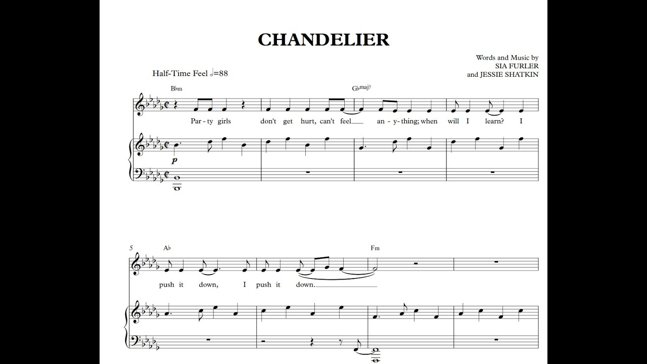 Chandelier - Sia [Sheet Music and Midi Download] - YouTube