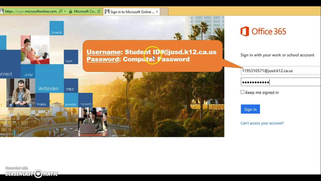 student log into office 365 youtube