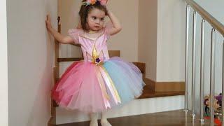 Elânın prenses elbisesi unicorn kostümü simli ELSA ayakkabıları.sürpriz doğumgününü  hazırlıkları