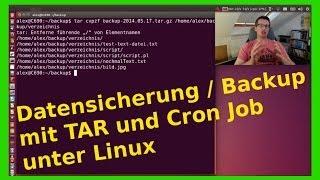 Linux Datensicherung / Backup mit TAR und Cron Jobs (crontab) Zeitlich geplant - [Deutsch/German]
