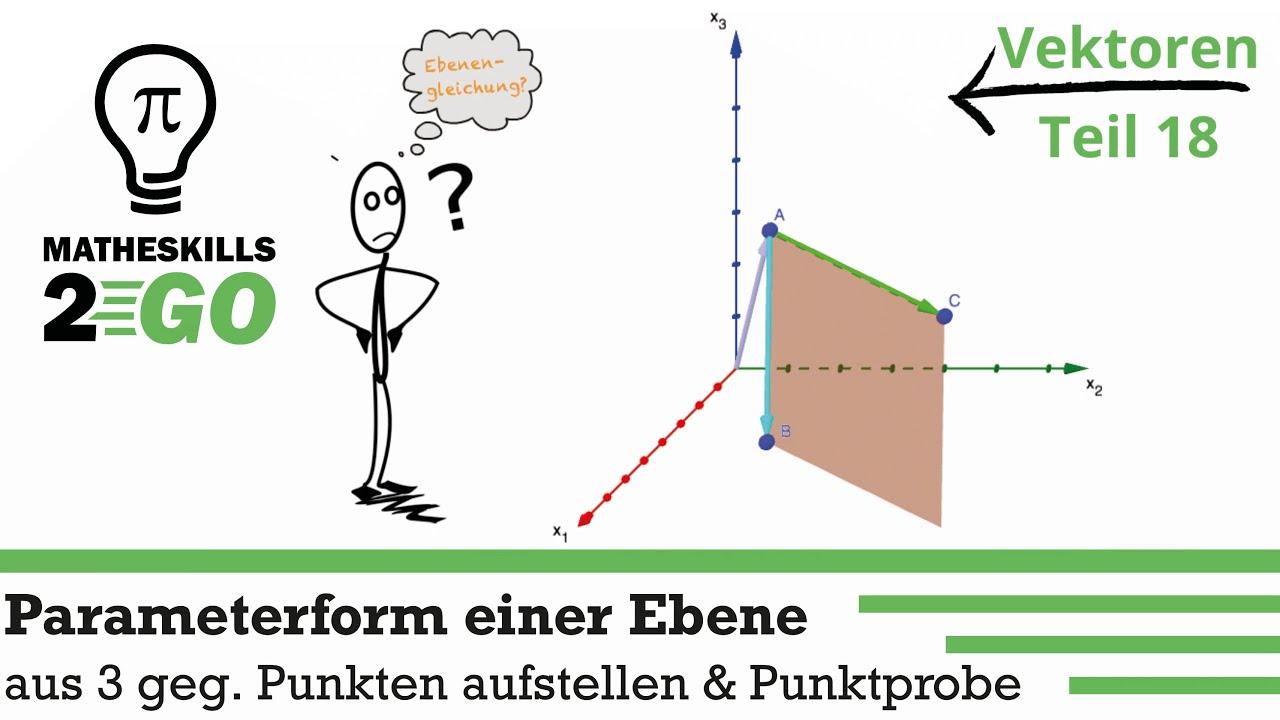 Parameterform einer Ebene mit drei gegebenen Punkten aufstellen & Punktprobe