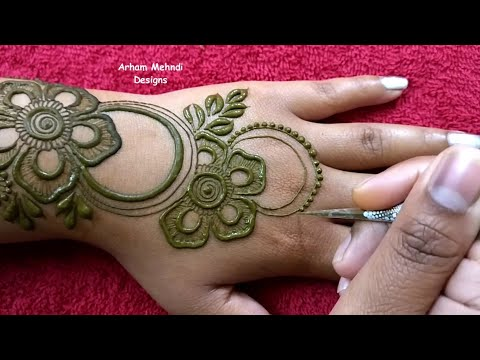 New Stylish Flower Mehndi Design || Simple and Easy Mehndi Design for Hand || Arham Mehndi Designs thumbnail