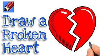 How to draw a Broken Heart Real Easy for kids and beginners