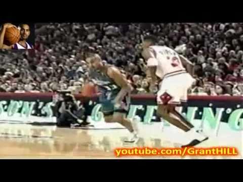 Grant Hill dunks on Bill Wennington (12-25-1996)