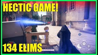 Star Wars Battlefront 2 - Really hectic game! | We need help! | 134 eliminations! (Palp / Vader)