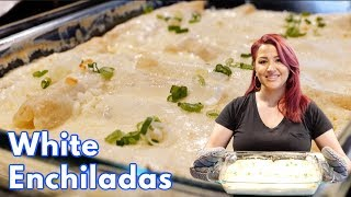 CREAMY WHITE CHICKEN ENCHILADAS MEXICAN STYLE  (NO SOUR CREAM)