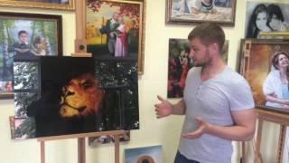 Картина на стекле на подарок другу. Видео обзор от студии живописи Denir