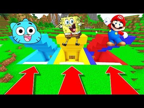 NE RENTREZ PAS DANS LA MAUVAISE BASE SECRÈTE MINECRAFT !! Gumball Bob l'éponge Mario !