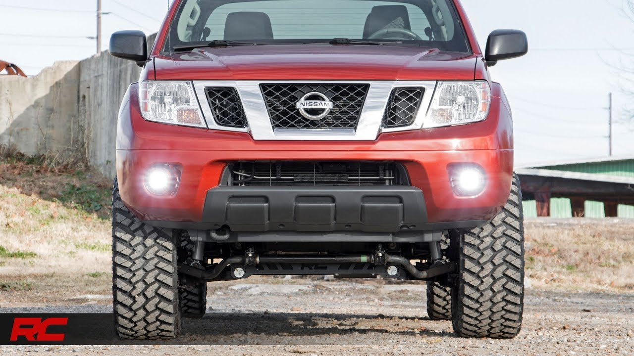hight resolution of 2005 2017 nissan frontier 2 inch led fog light kit by rough country