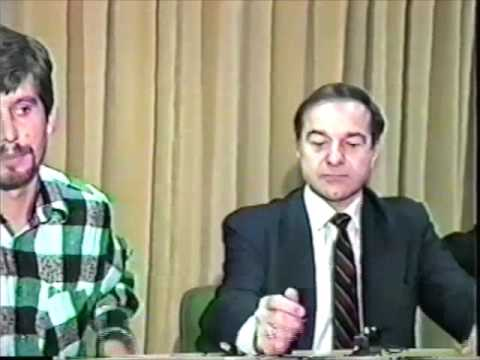 Press conference with Joe DioGuardi and the Albanian media in Tirana , Albania, Sept. 1993