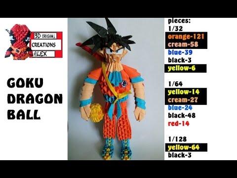How To Make 3d Origami Goku Dragon Ball Tutorial Diy 3d Origami