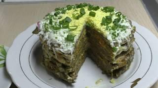 Печеночный торт//Закуска на праздничный стол//Что приготовить из печени//Торт закуска