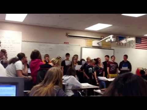Creighton Middle School Spanish class singing to other classes- Karaline's Channel