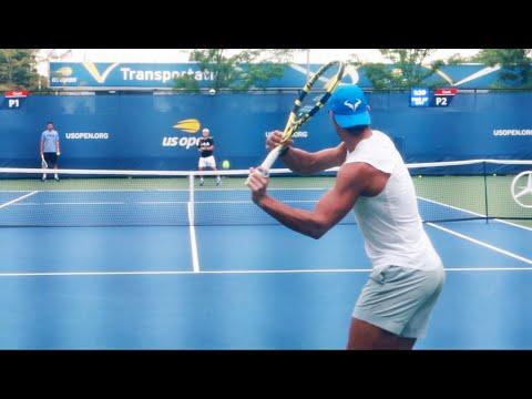 Rafael Nadal Practice US Open 2019 Court Level View
