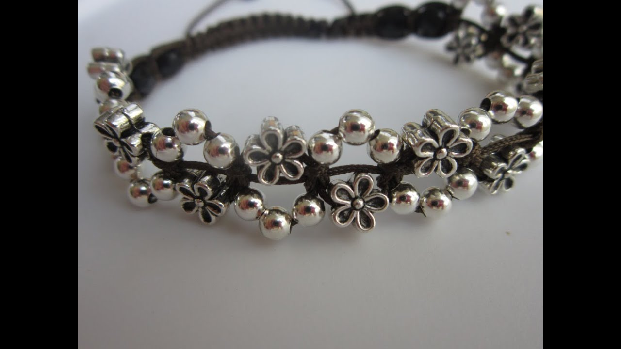 How to make a Shamballa Flowers Bracelet with metal beads ...