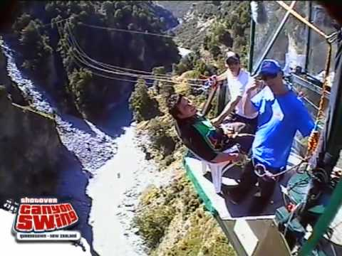 Swing Chair Over Canyon Best Fishing 2017 Uk Shotover Queenstown New Zealand The Youtube