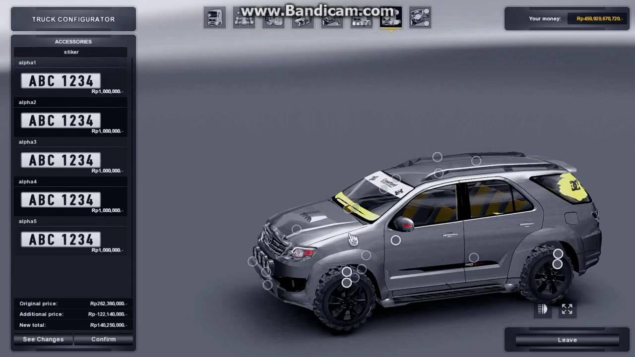 Review MOD Car ETS2 Fortuner v.1.0 - YouTube