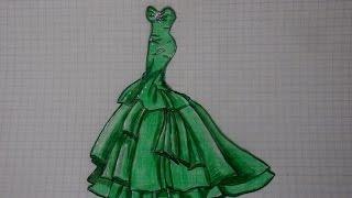 Как нарисовать ВЕЧЕРНЕЕ ПЛАТЬЕ #85 / How to draw a FORMAL DRESS