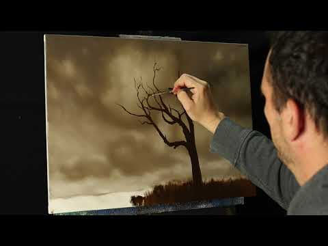 ALONE – An Oil landscape painting of clouds and a lone tree, time lapse video with Tim Gagnon