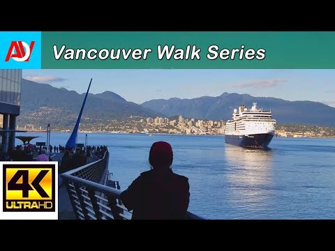 Vancouver 7 Minute WALK: VANCOUVER HARBOUR WATERFRONT / CANADA PLACE - 4K