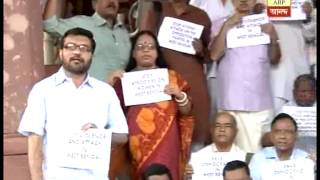 Left MPs on Dharna outside parliament protesting attack on democracy