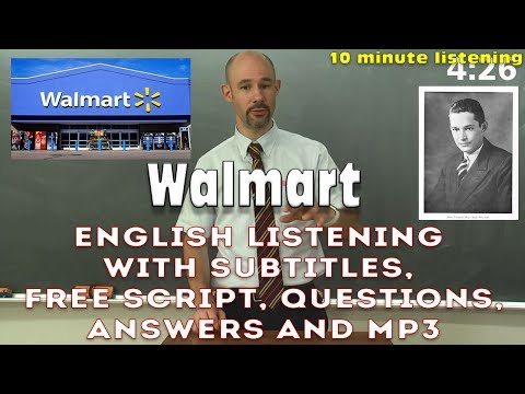 (#35) Walmart - 10 min English listening with subtitles, script, questions, answers, MP3