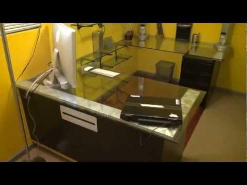 Custom BUILT Video Editing Office Desk/Glass Top / Walk Through / BLACK U0026  YELLOW Studio
