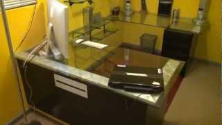 Custom Built Video Editing Office Desk/glass Top / Walk Through / Black & Yellow Studio