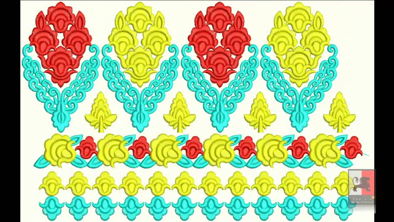 Pakistani Jamawar Borders Embroidery Designs - YouTube