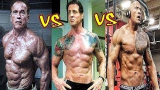 "Arnold Schwarzenegger vs Sylvester Stallone vs Dwayne Johnson ""The Rock"" Transformation 2018"