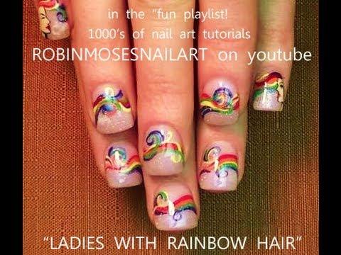 Diy Nail Art Project Rainbow Hair Design Tutorial Youtube