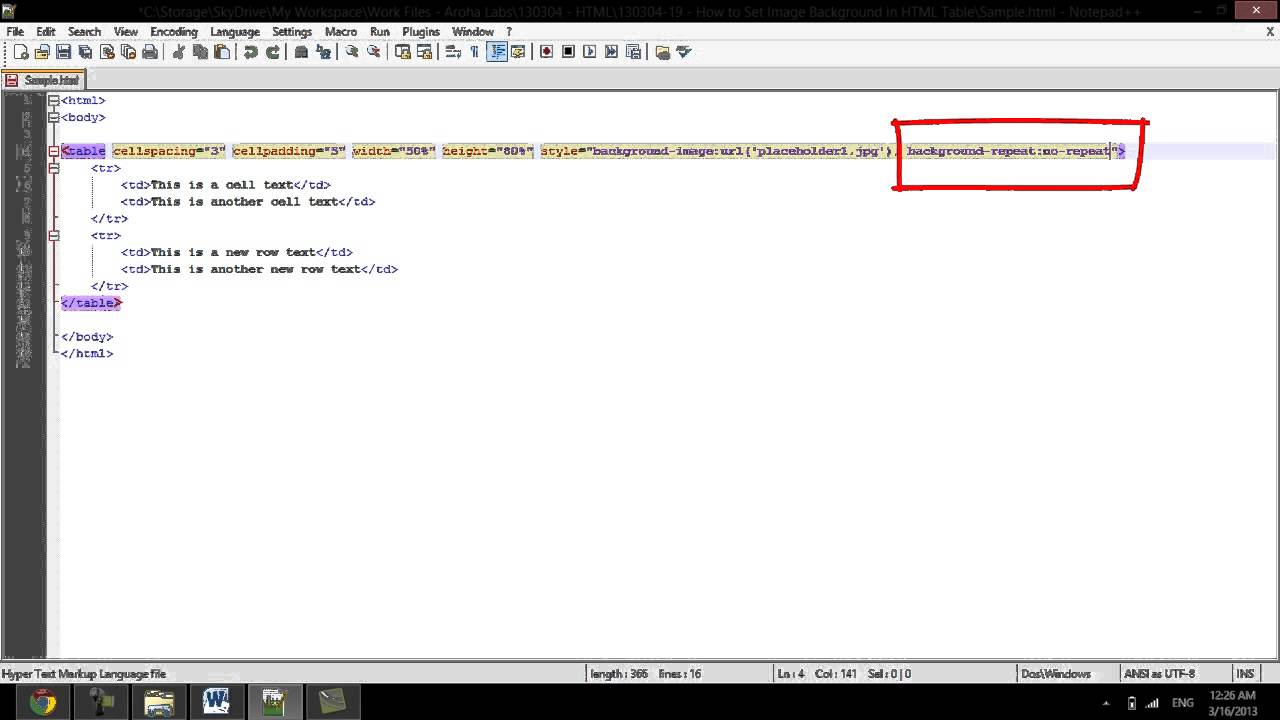 How to Set Image Background in HTML Table - YouTube