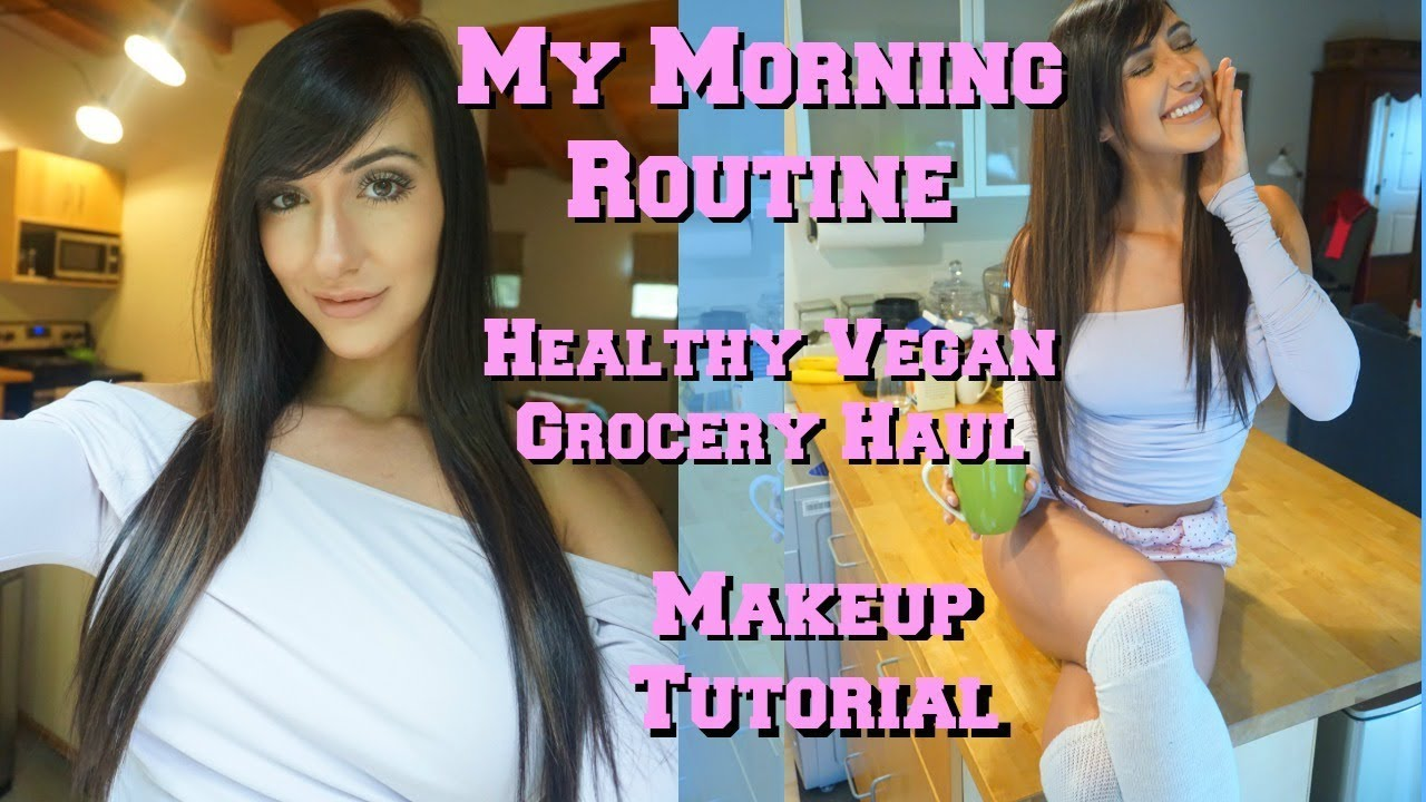 Healthy Vegan Grocery Haul While Traveling | My Morning Routine | Makeup Tutorial