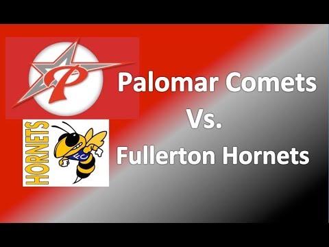College Softball 1st Base Pop Fly Catch: Palomar Comets vs Fullerton Hornets. Emily Burrow