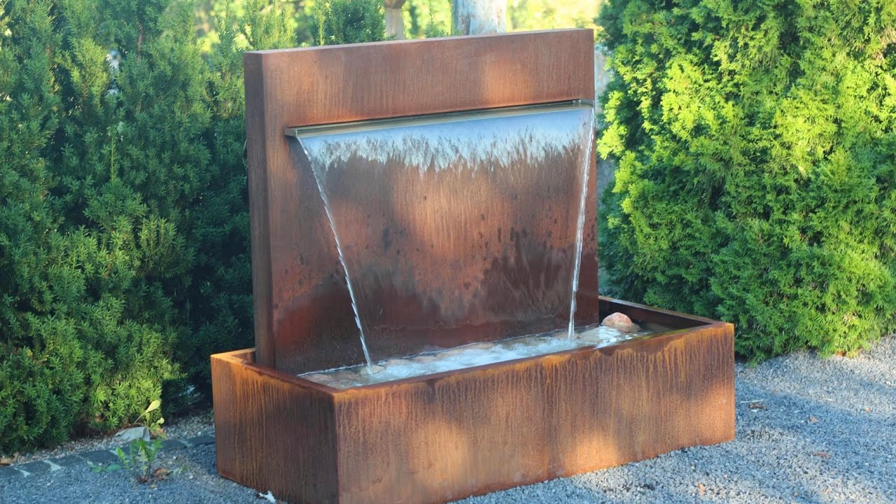 gartenbrunnen ausstellung wasserfall 90 aus cortenstahl brunnenk nig de youtube. Black Bedroom Furniture Sets. Home Design Ideas