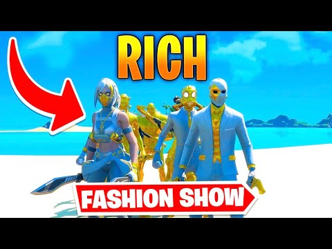*RICH* Fortnite Fashion Show! FIRE Skin Competition! Best COMBO WINS!