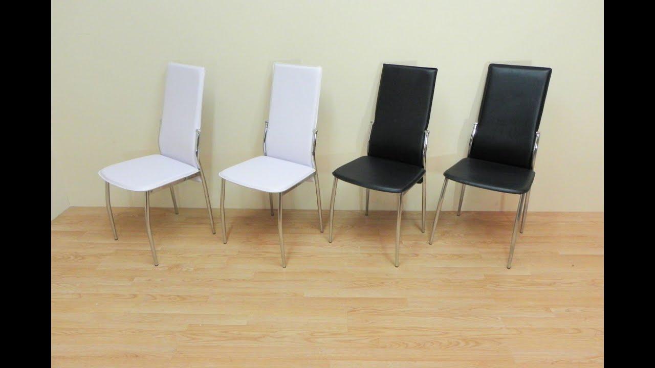 Descatalogado silla para sal n comedor polipiel blanca for Sillas cromadas para comedor