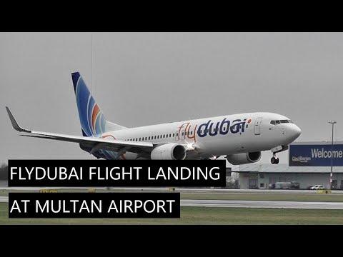FlyDubai flight landing at Multan International airport
