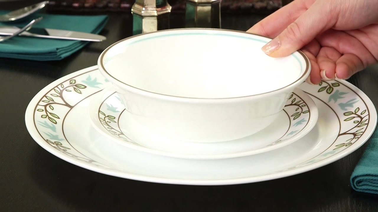 Corelle - Tree Bird 16 Piece Dinnerware Set & Corelle - Tree Bird 16 Piece Dinnerware Set - YouTube
