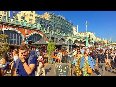BRIGHTON BEACH PROMENADE WALK with Crowds Enjoying the Sun, Beach Bars, Stalls, Pier, i360   England