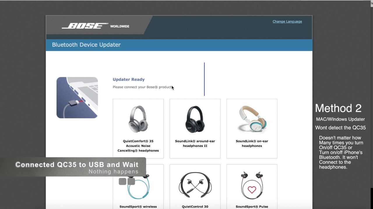 Bose QC35 Firmware Update Failure