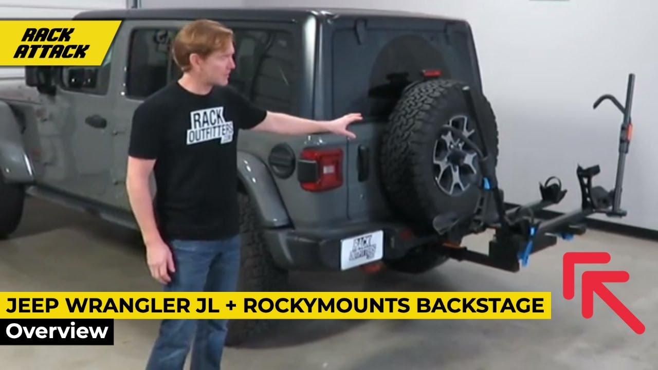 rockymounts backstage swingaway bike rack with hitch extension on jeep wrangler