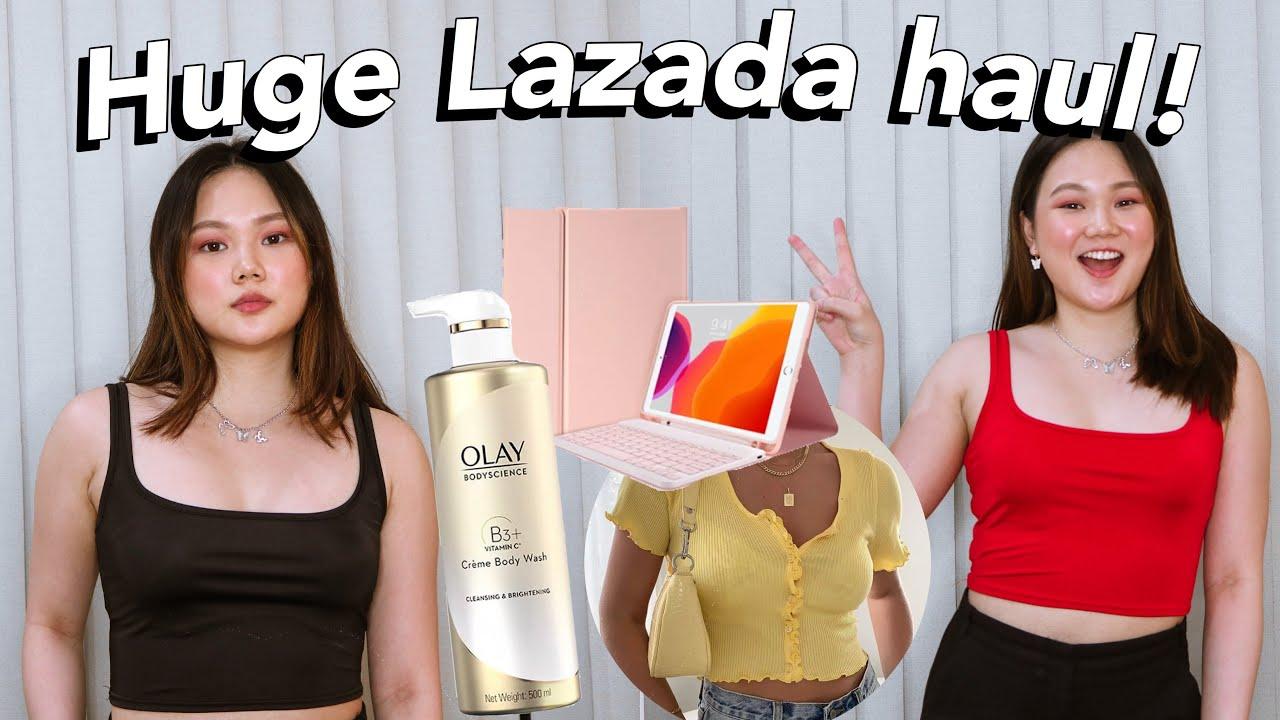 HUGE LAZADA TRY ON HAUL: OLAY, TECH, CLOTHES, ETC! (JULY) | ASHLEY SANDRINE