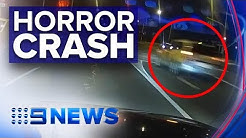 Violent car crash in Adelaide caught on camera | Nine News Australia